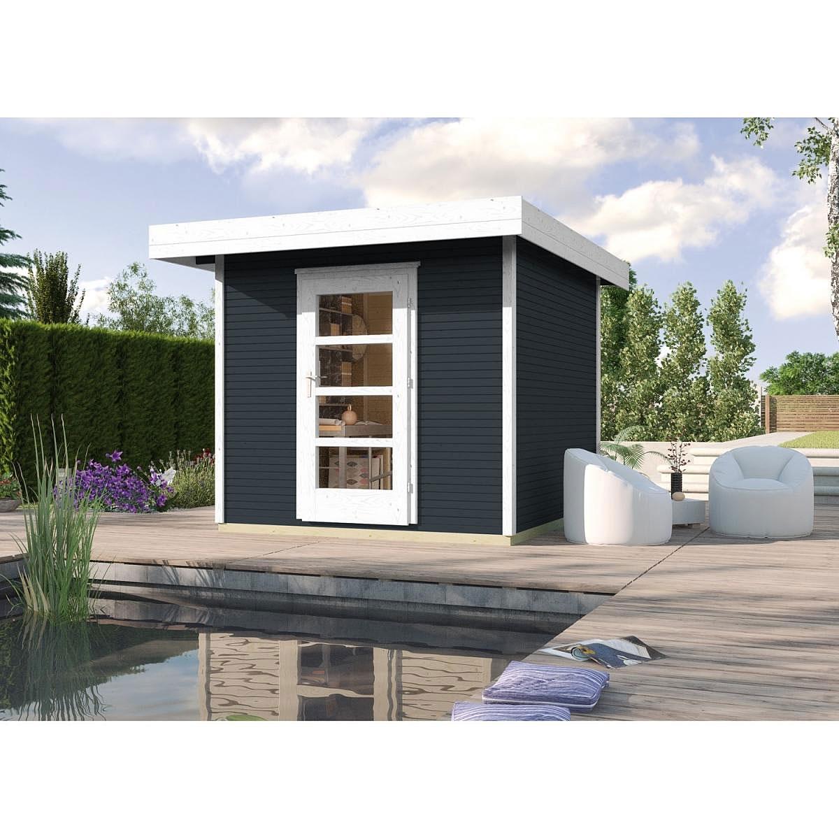 Weka Holz-Gartenhaus wekaLine Anthrazit 300 cm x 295 cm