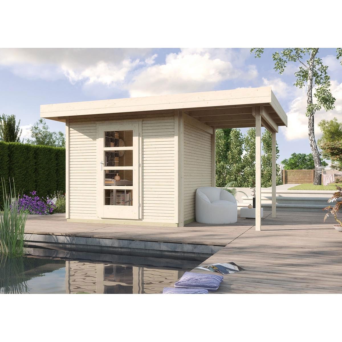 Weka Holz-Gartenhaus wekaLine Natur 300 cm x 295 cm mit Anbau 150 cm
