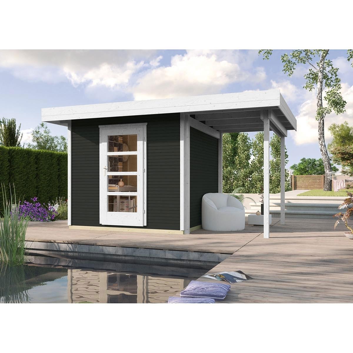Weka Holz-Gartenhaus wekaLine Anthrazit 300 cm x 295 cm mit Anbau 150 cm