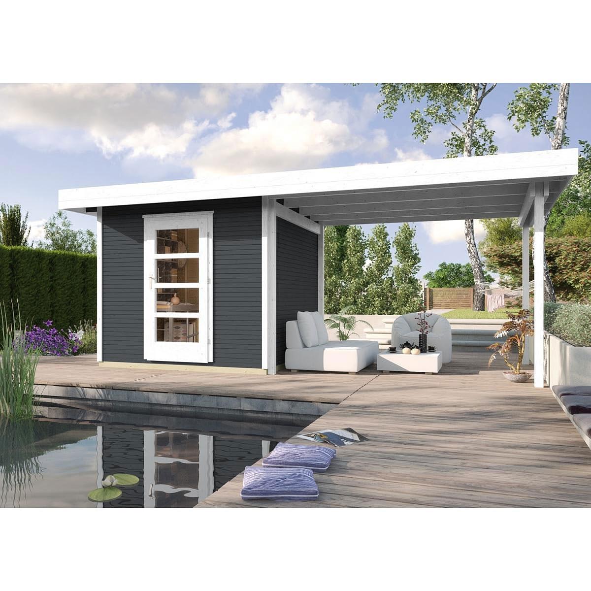 Weka Holz-Gartenhaus wekaLine Anthrazit 240 cm x 235 cm mit Anbau 300 cm