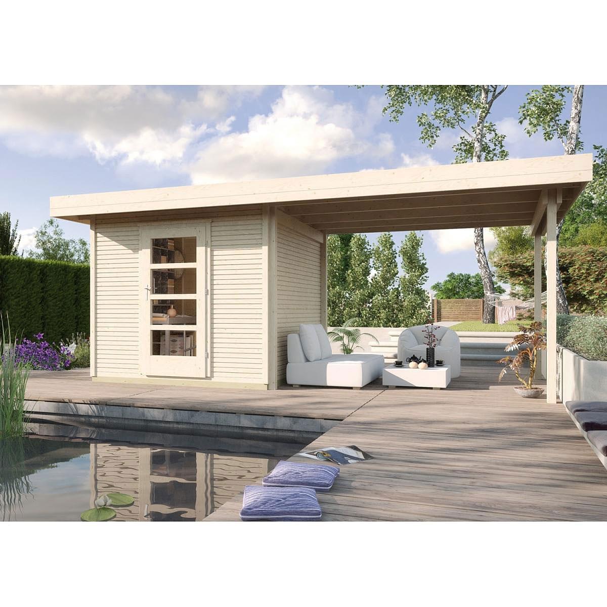 Weka Holz-Gartenhaus wekaLine Natur 300 cm x 295 cm mit Anbau 300 cm