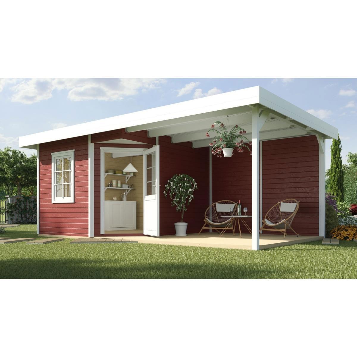 """Gartenhäuser - Designhaus """"213 B"""" mit Anbau 300 cm, 5 Eck  - Onlineshop Hellweg"""