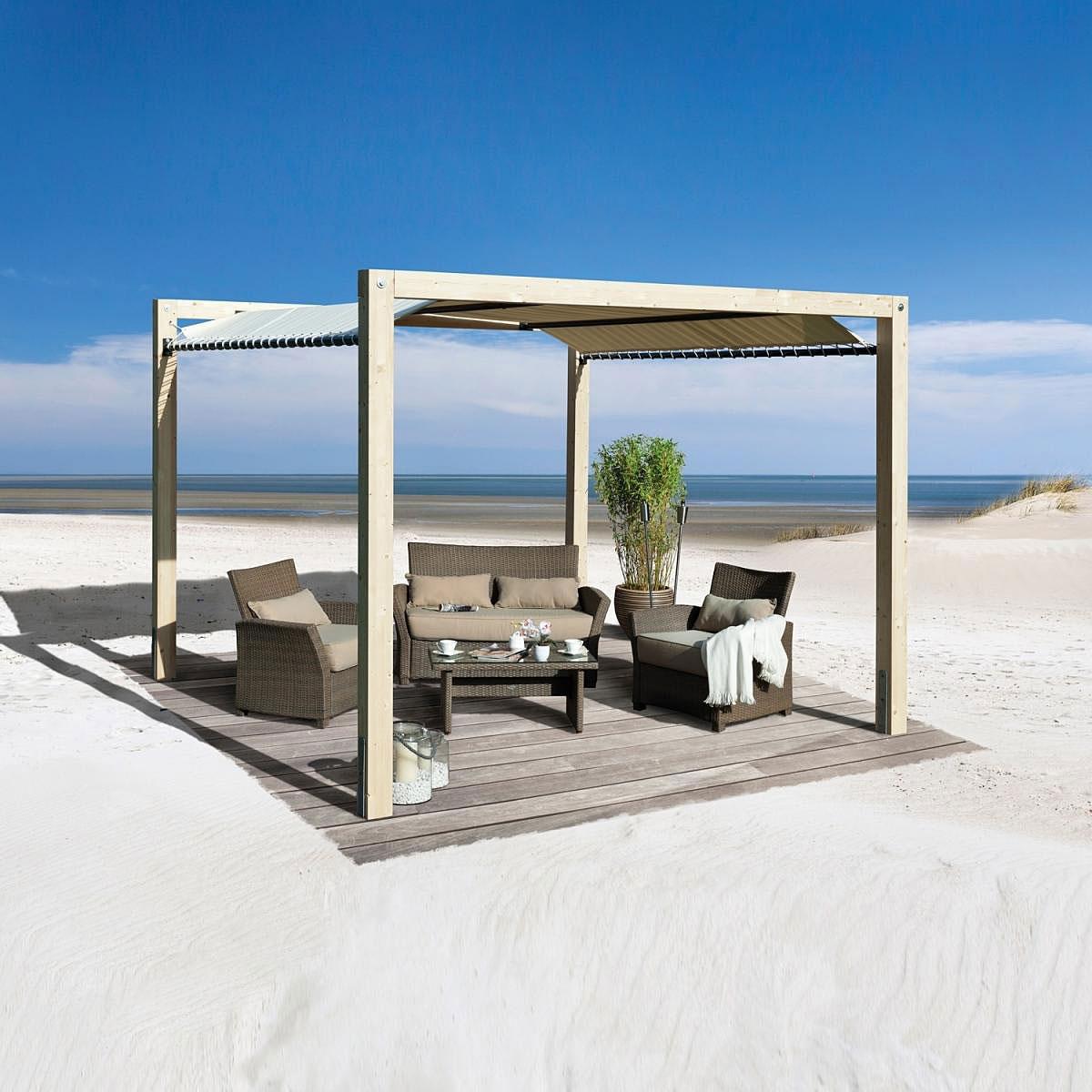 "Pavillons - Holzpavillon ""Gartenoase 235"" mit Sonnensegel  - Onlineshop Hellweg"