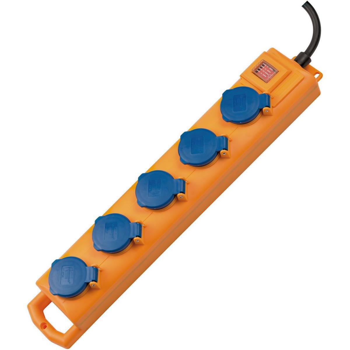 """Brennenstuhl Außensteckdosenleiste """"Super-Solid SL 554"""", 5-fach, 2 m Kabel, Schalter, gelb"""