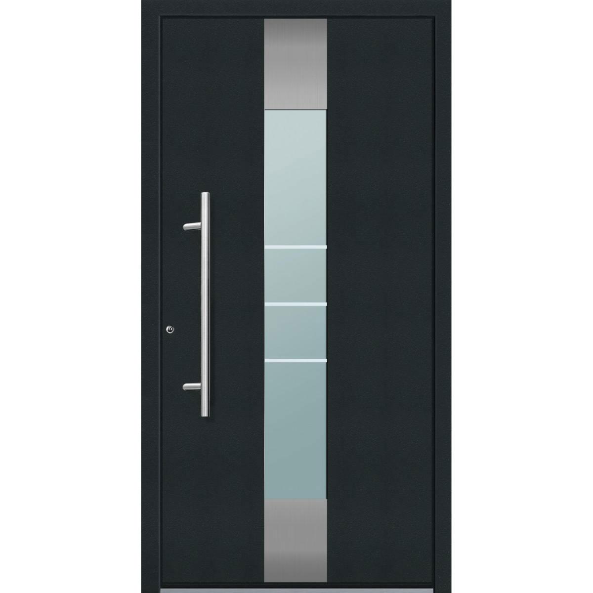 """Aluminium Sicherheits-Haustür """"Catania Superior"""", 60mm, anthrazit, 110x210 cm, Anschlag links, RC2-zertifiziert, inkl. Griffset Links"""