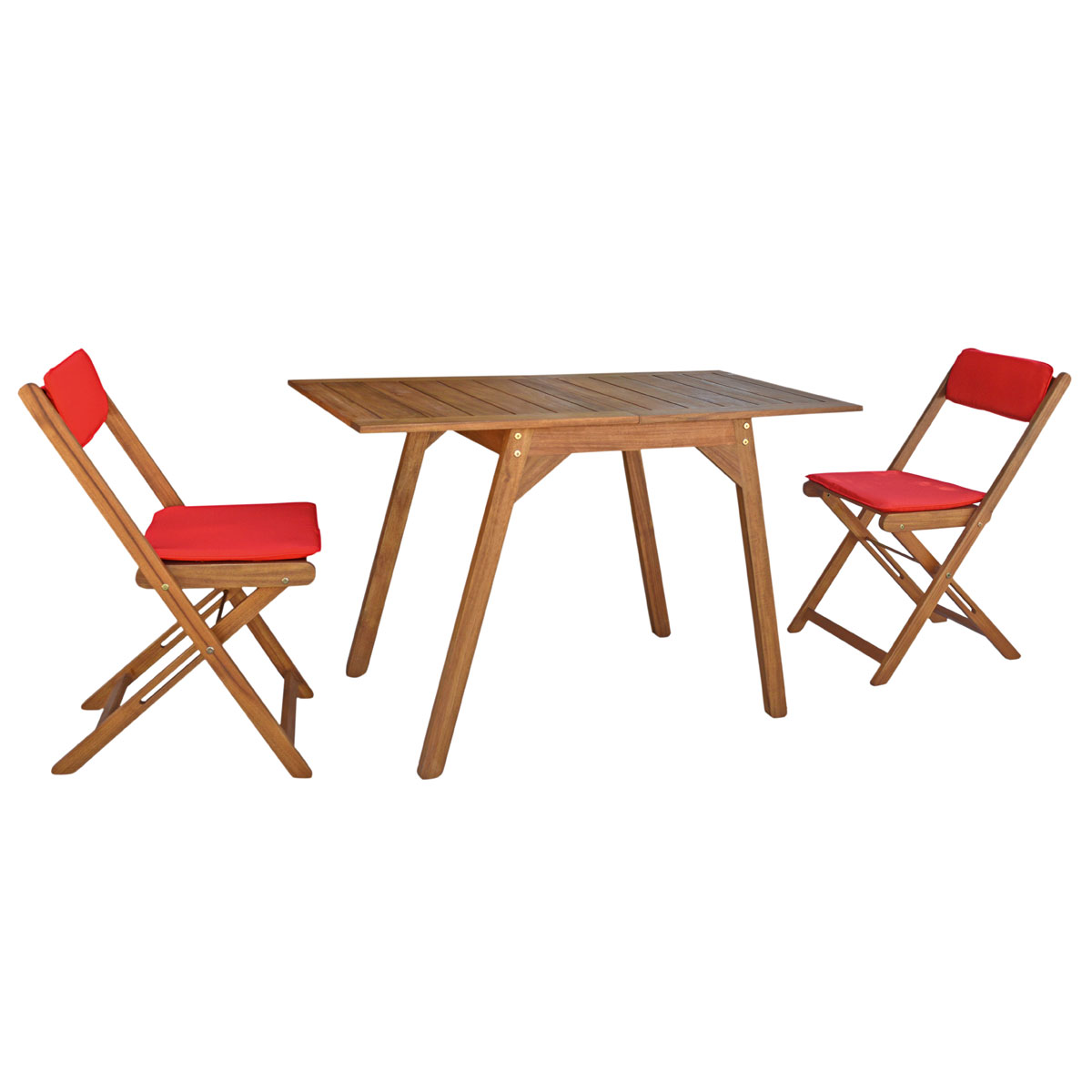 "Gartenmöbel Sets - Balkonmöbel Set ""Rhodos"", Ausziehtisch 2 Klappsessel, Eukalyptusholz  - Onlineshop Hellweg"