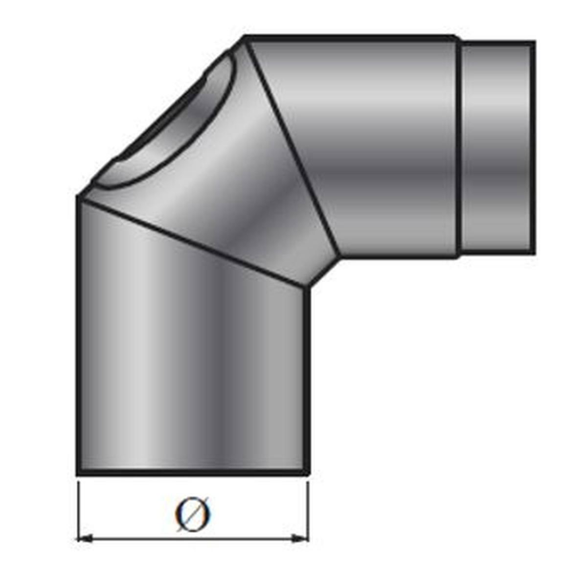 Color Emajl Rauchrohr-Knie Bogen 90° ß 150 mm, schwarz