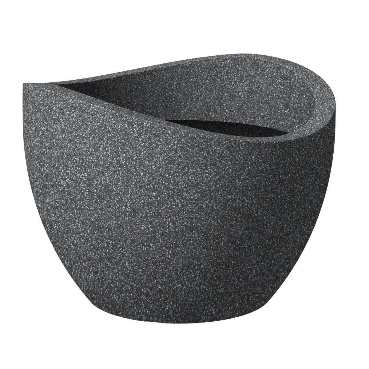 Scheurich Pflanzgefäß Wave Globe Ø 30 cm Schwarz-Granit