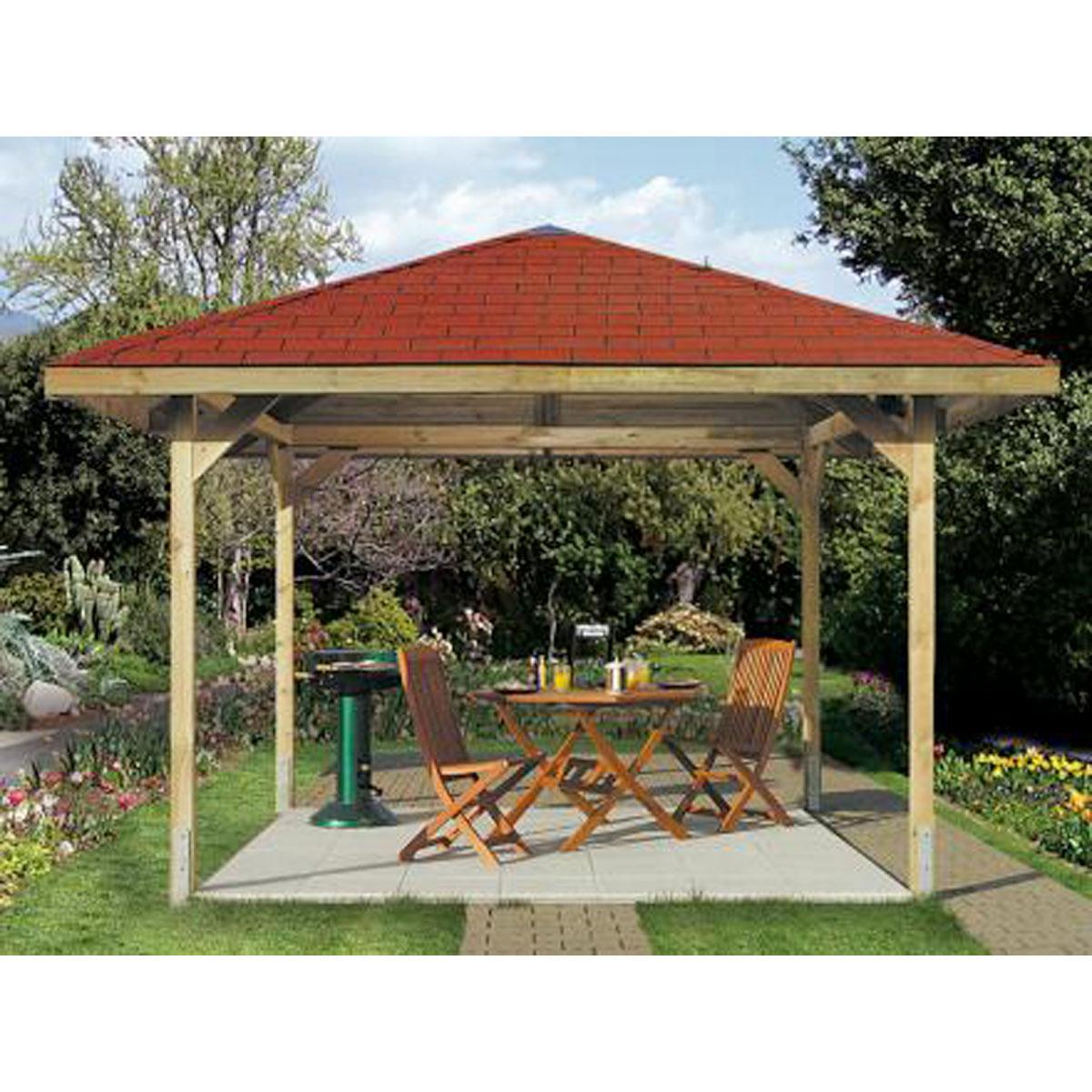 Weka Gartenlaube Paradies Gr.3, 380x380 cm inkl. Dachschindeln