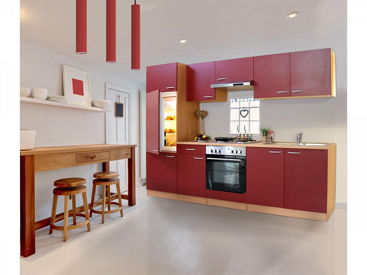 Küchenzeile mit Edelstahl-Kochmulde  Respekta Basic, Breite 270 cm