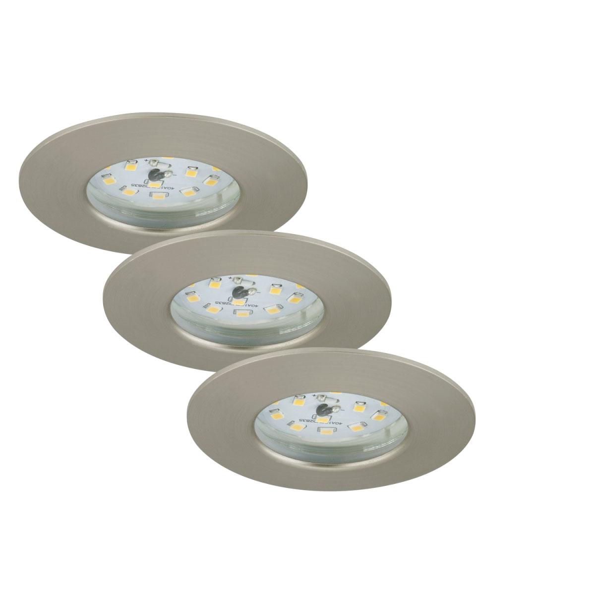 Deckenleuchten - LED Einbauleuchte 3er Set, matt nickel, rund  - Onlineshop Hellweg