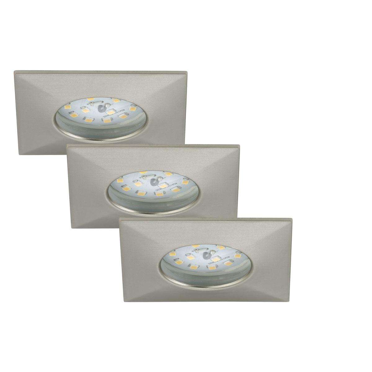 Deckenleuchten - LED Einbauleuchte 3er Set, matt nickel, eckig  - Onlineshop Hellweg