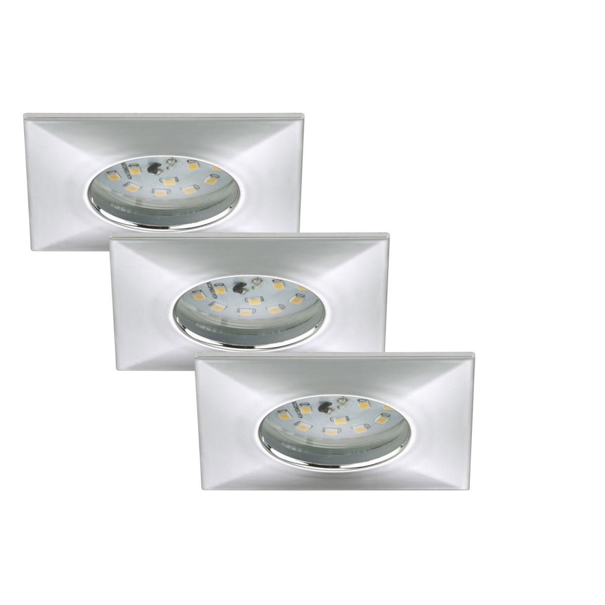 Deckenleuchten - LED Einbauleuchte 3er Set, chrom, eckig  - Onlineshop Hellweg