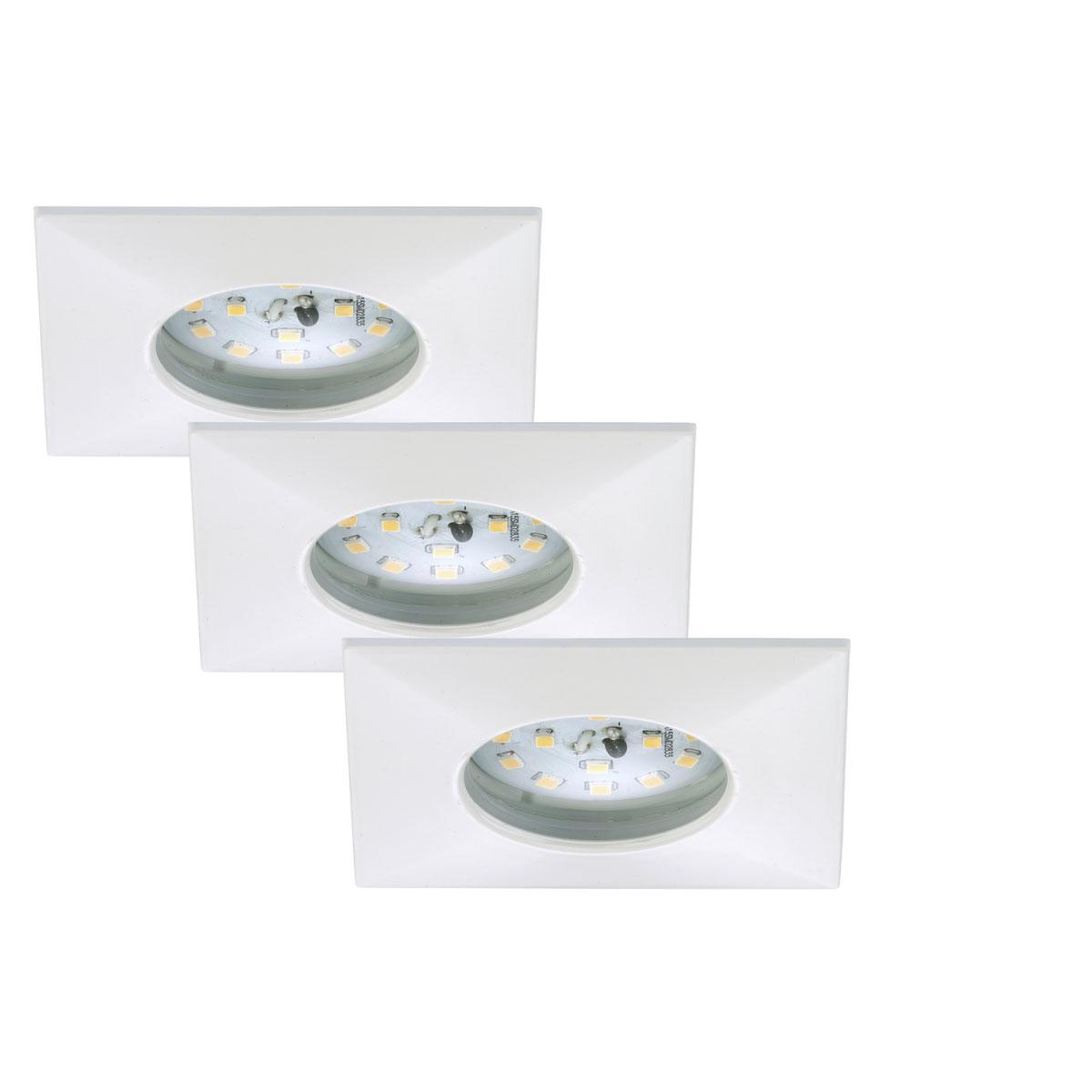 Deckenleuchten - LED Einbauleuchte 3er Set, weiß, eckig  - Onlineshop Hellweg