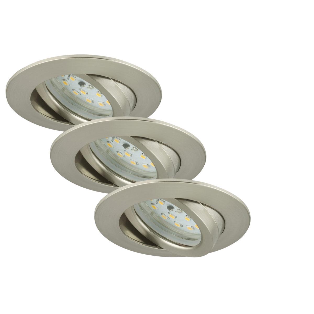 Deckenleuchten - LED Einbauleuchte 3er Set, schwenkbar, matt nickel  - Onlineshop Hellweg