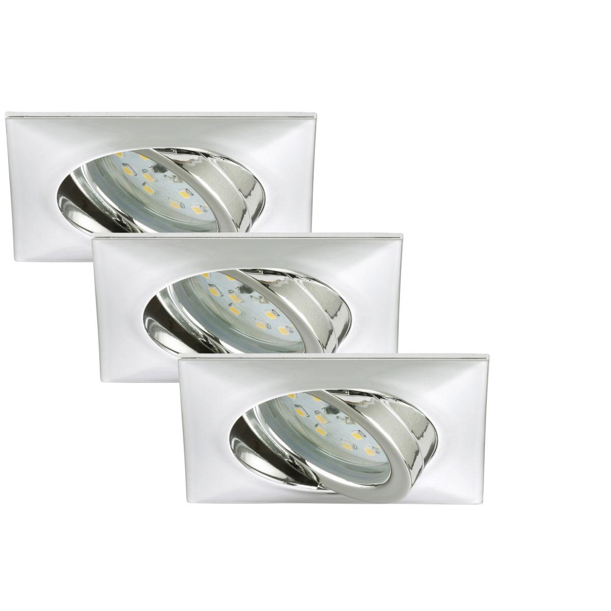 Deckenleuchten - LED Einbauleuchte 3er Set, schwenkbar, chrom, 5W  - Onlineshop Hellweg