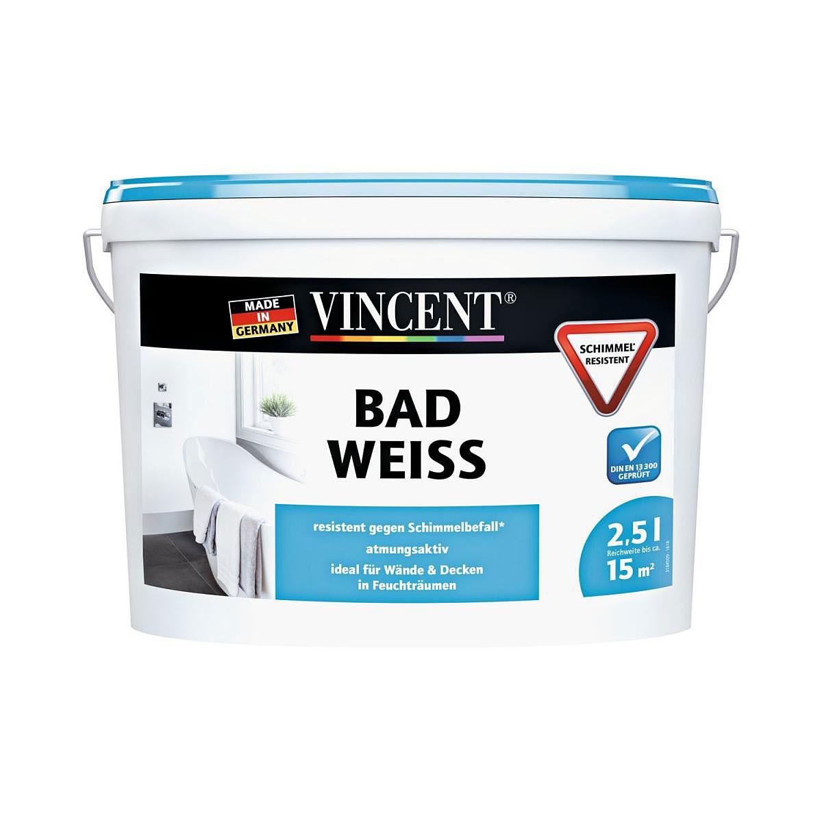 Vincent Küchen- und Badfarbe, 2,5 Liter weiß