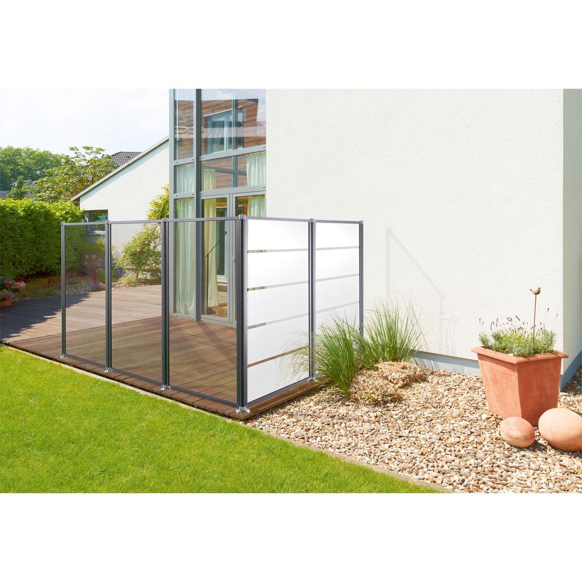 Glas-Windschutz Streifen, 100x160 cm, anthrazit