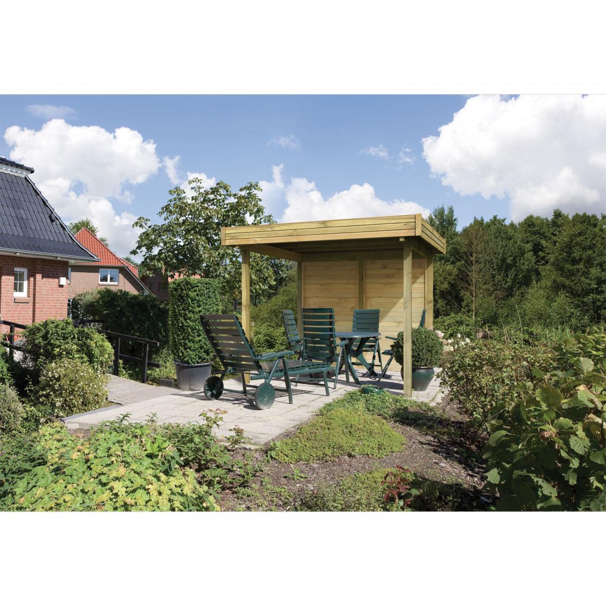 Karibu Holzpavillon Flachdachpavillon 1