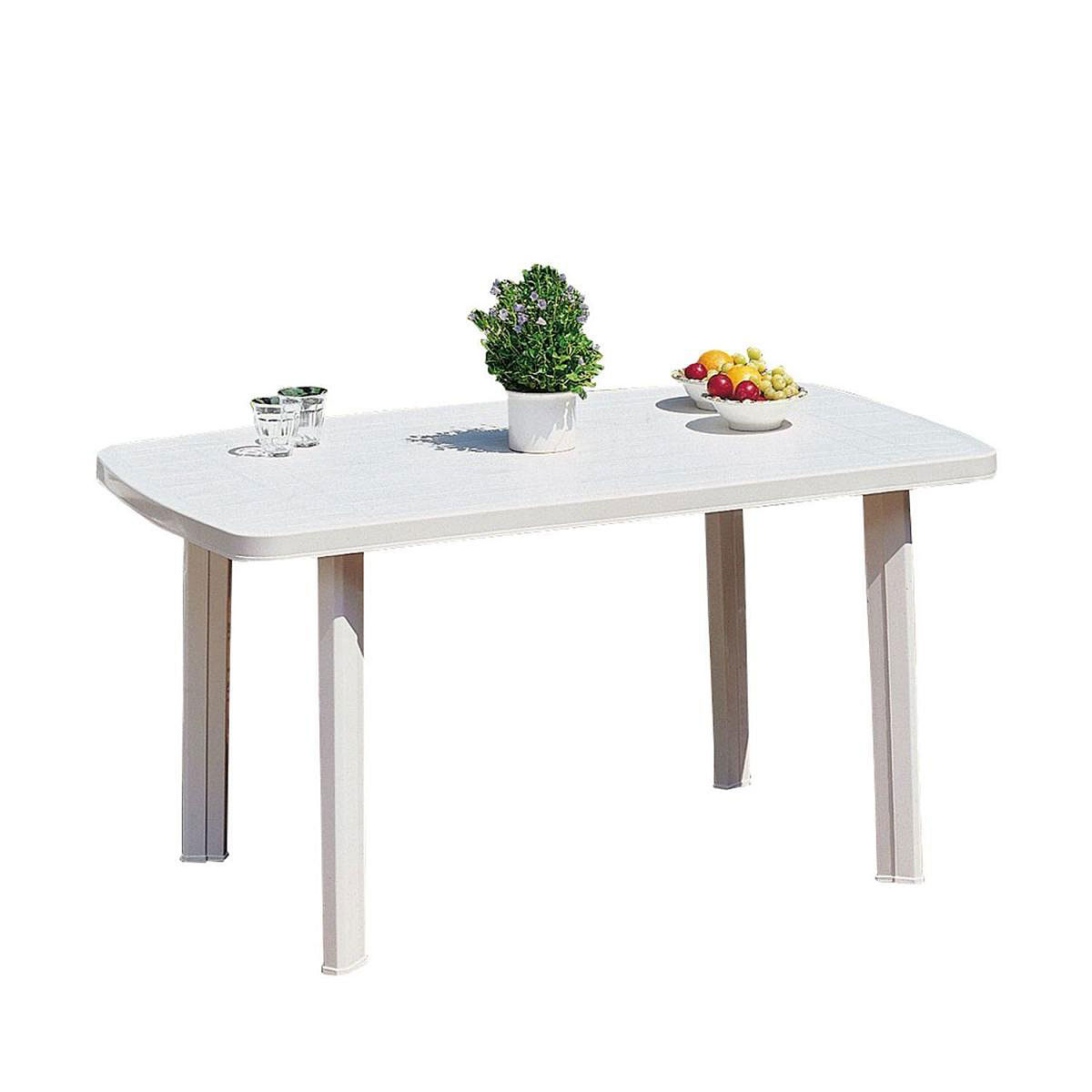 KUNSTSTOFFTISCH Gartentisch Faro 506020 90x140 Weiss
