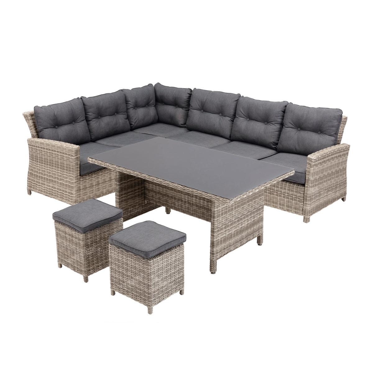 """Loungemöbel - Loungegarnitur """"Bardolino"""" Tisch 2 Hocker, inkl. 3 Kissen, grau meliert  - Onlineshop Hellweg"""