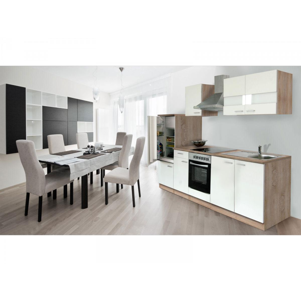 Respekta Küchenzeile 270 cm Eiche Sägerau Weiß, mit Geräten, Glaskeramikkochfeld