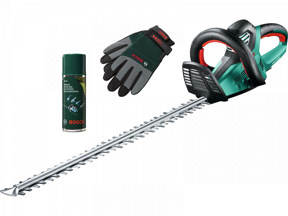 Bosch Elektro-Heckenschere AHS 70-34 inkl. Gartenhandschuhe und Pflegespray