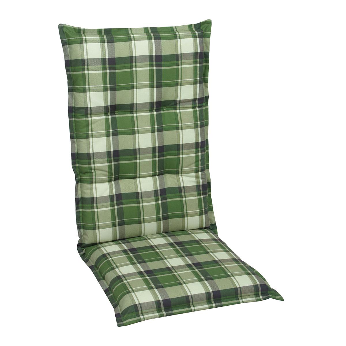 GO-DE Sesselauflage Classic hoch grün-kariert 120 x 50 x 8 cm