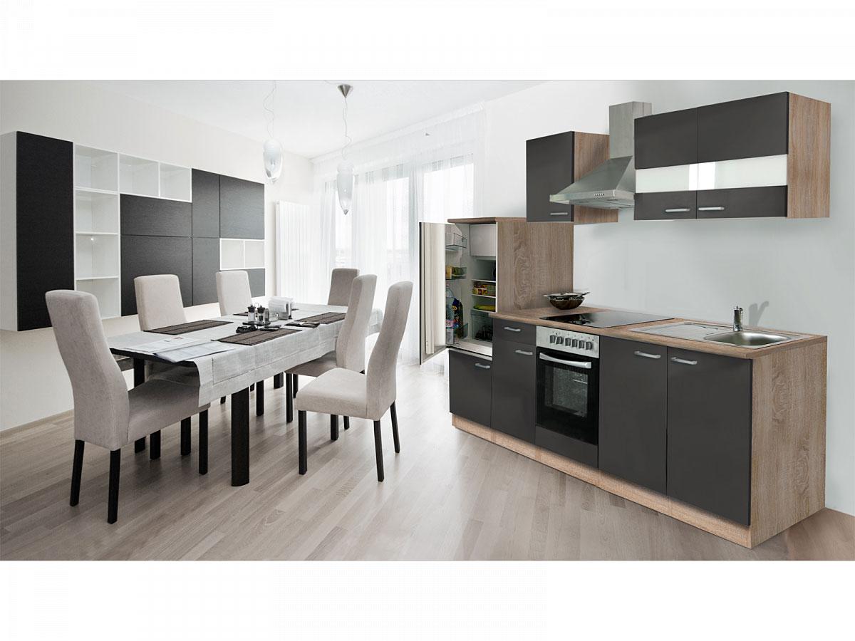 Respekta Küchenzeile 270 cm Eiche Sägerau Grau, mit Geräten, Glaskeramikkochfeld