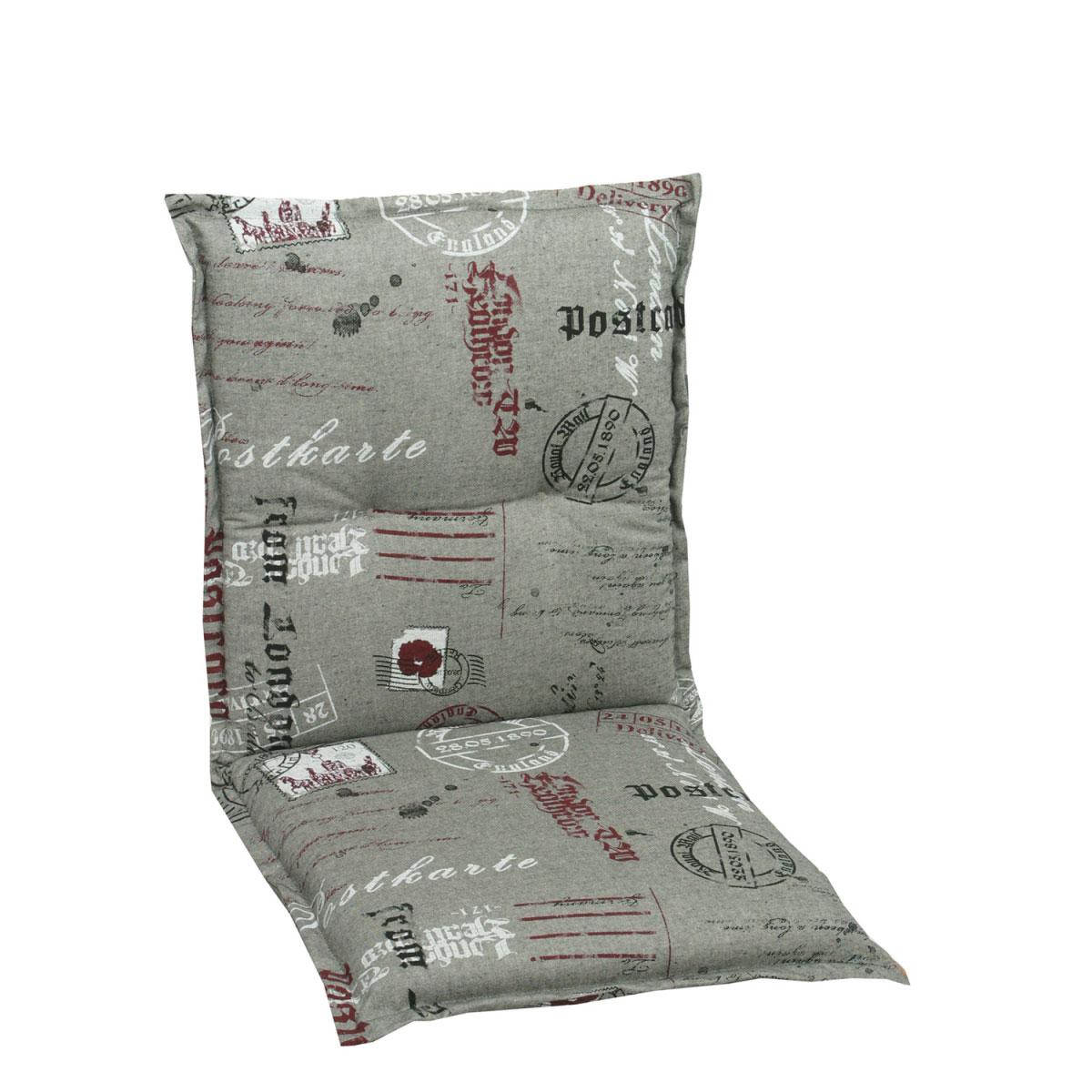 GO-DE Sesselauflage niedrig grau-rot 100 x 50 x 8 cm