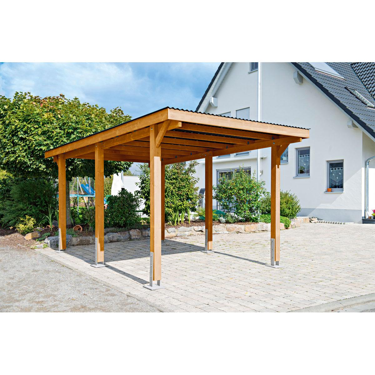 """Carports - Carport """"Dortmund"""", 301x504 cm, Fichte unbehandelt PVC  - Onlineshop Hellweg"""