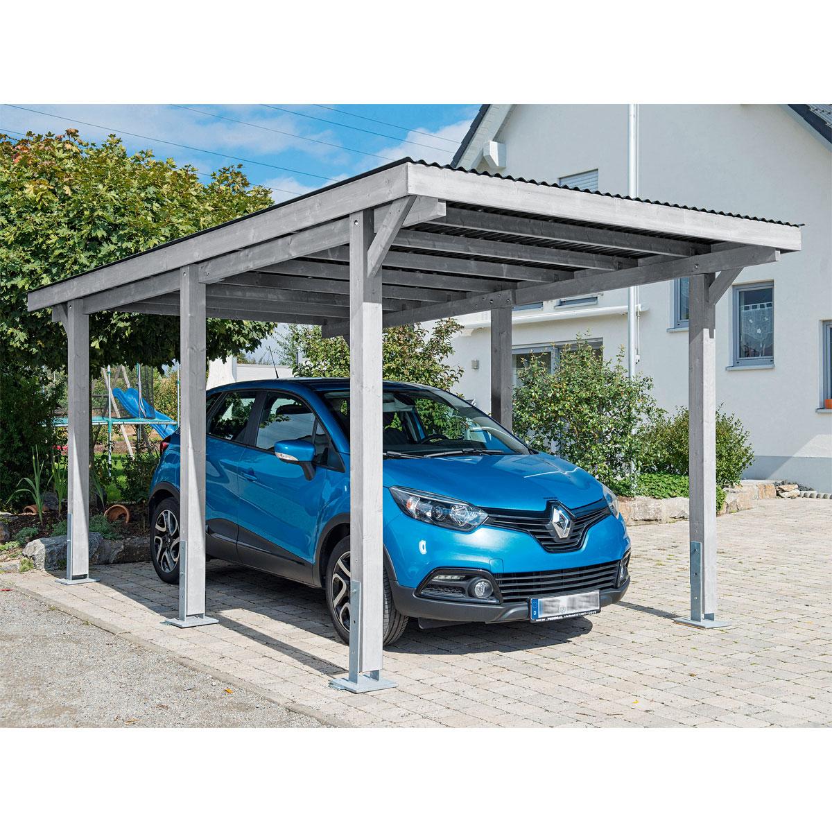 "Carports - Carport ""Dortmund"", 301x504 cm, Fichte grau lasiert PVC  - Onlineshop Hellweg"