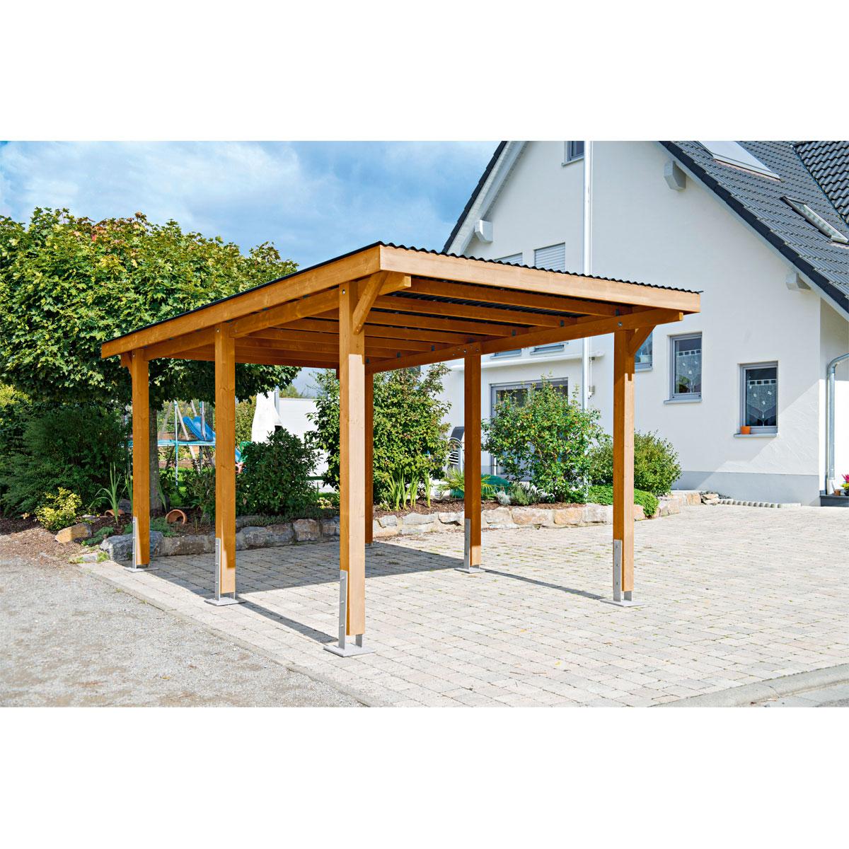 """Carports - Carport """"Dortmund"""", 301x504 cm, Fichte kirschbaum PVC  - Onlineshop Hellweg"""