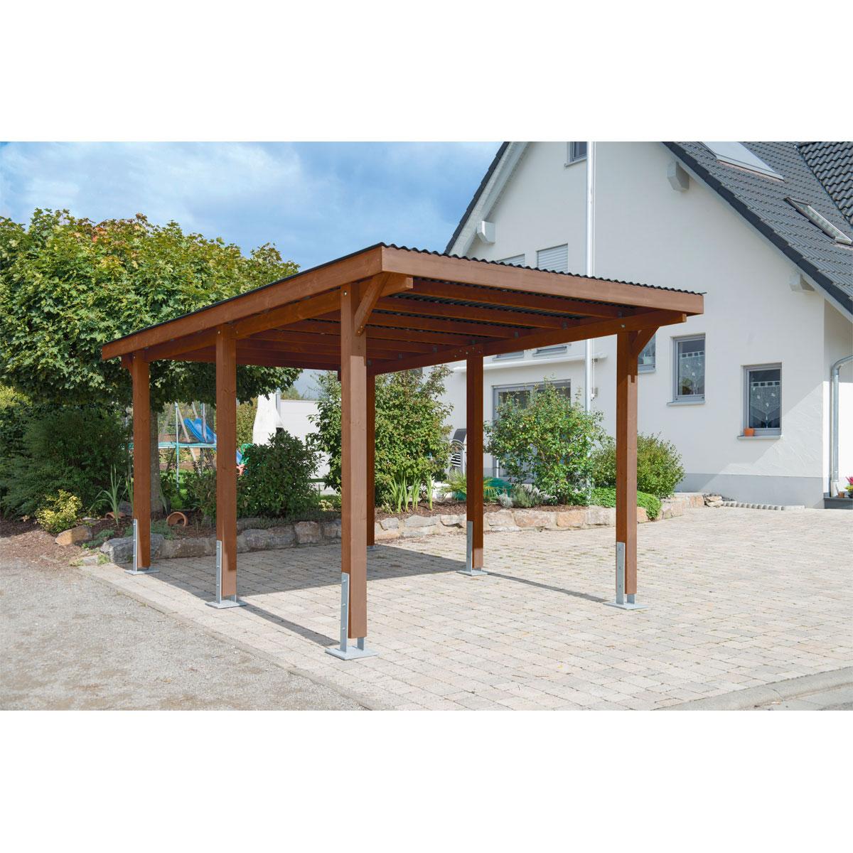 "Carports - Carport ""Dortmund"", 301x504 cm, Fichte tabak PVC  - Onlineshop Hellweg"