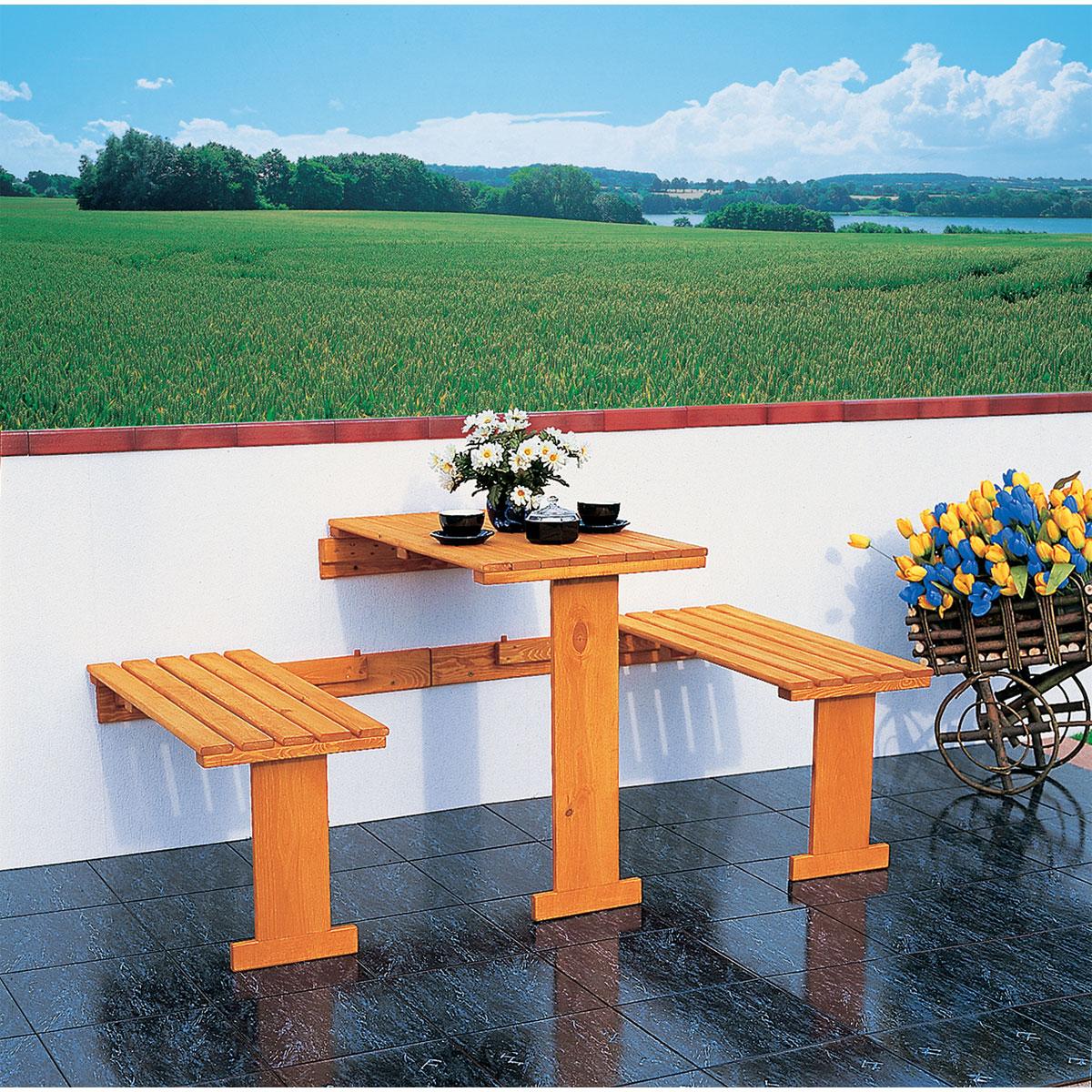Gartenmöbel Sets - Balkonklappgarnitur, mit blauen Auflagen  - Onlineshop Hellweg