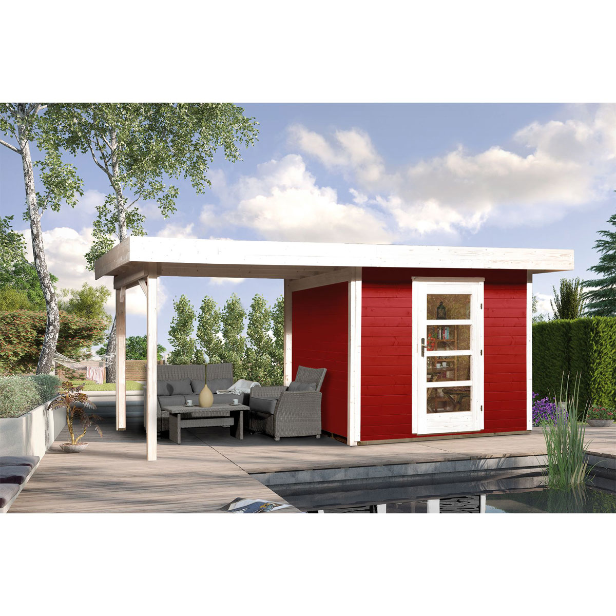 "Gartenhäuser - Designhaus ""172 B"" Gr.2, schwedenrot  - Onlineshop Hellweg"