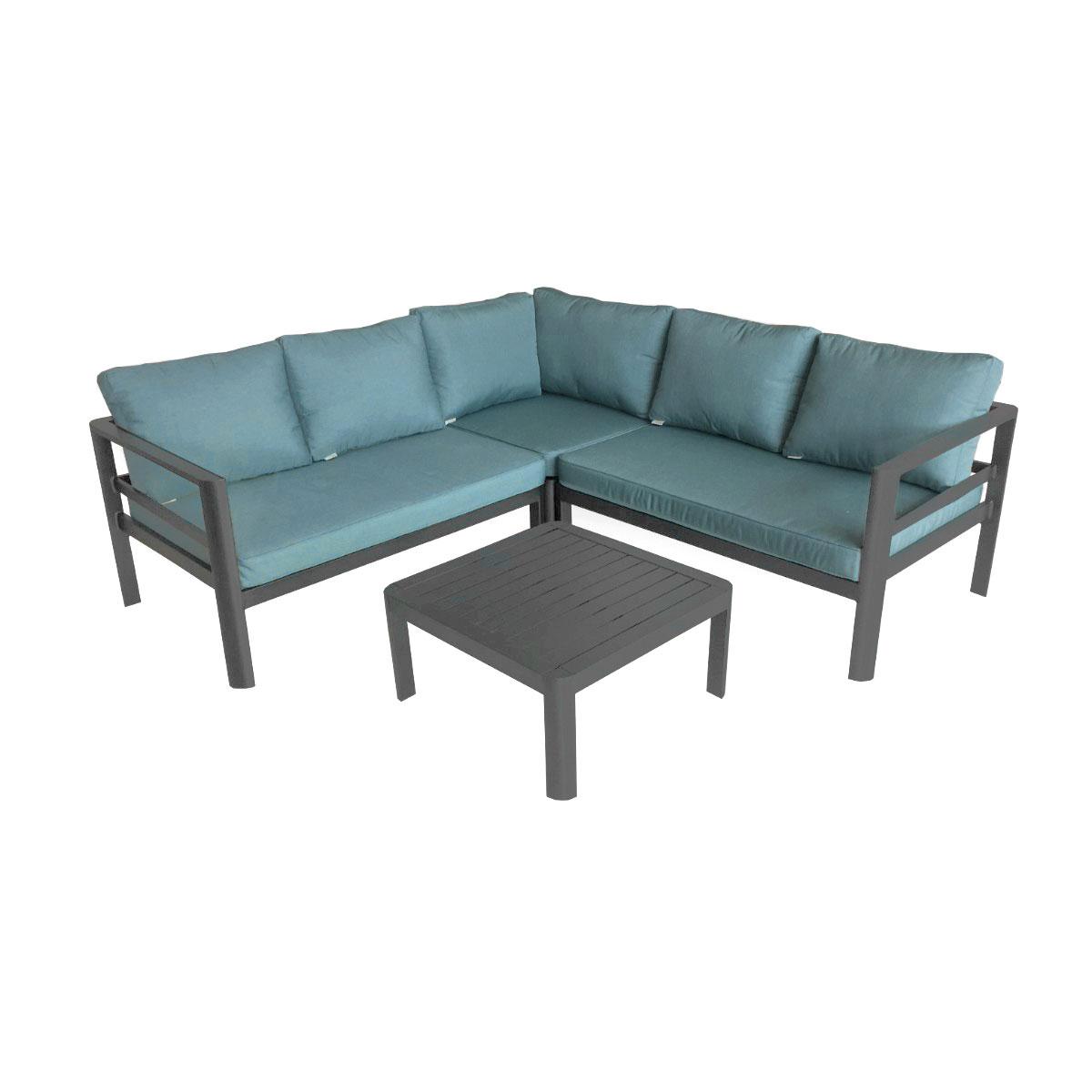 Loungemöbel - Lounge Set Lago, petrol, inkl. Kissen  - Onlineshop Hellweg