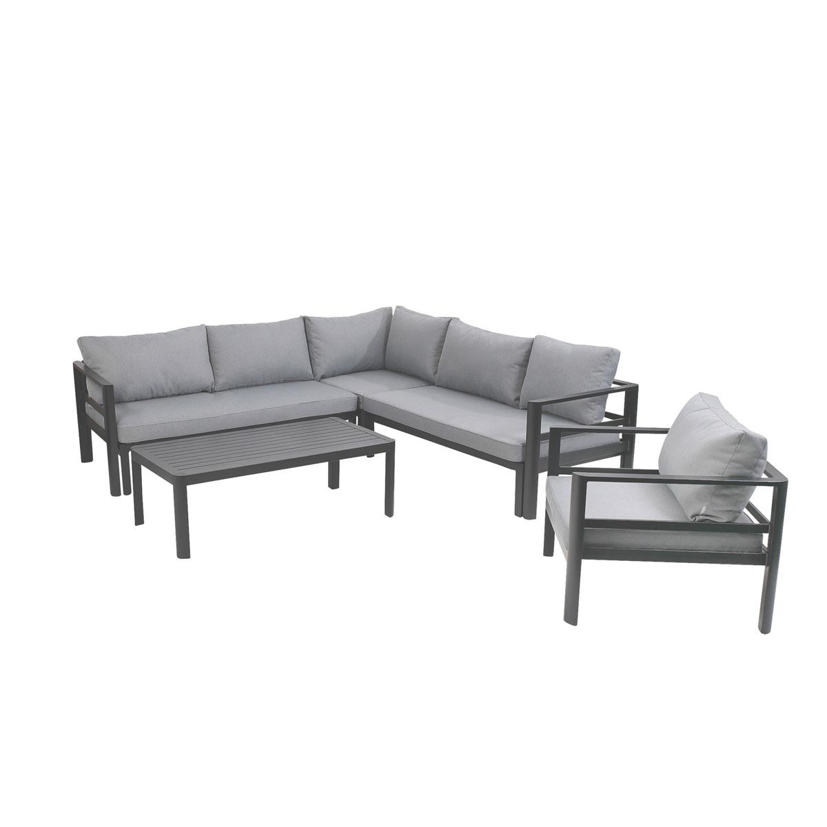 Loungemöbel - Lounge Set Levante, grau, inkl. Kissen  - Onlineshop Hellweg