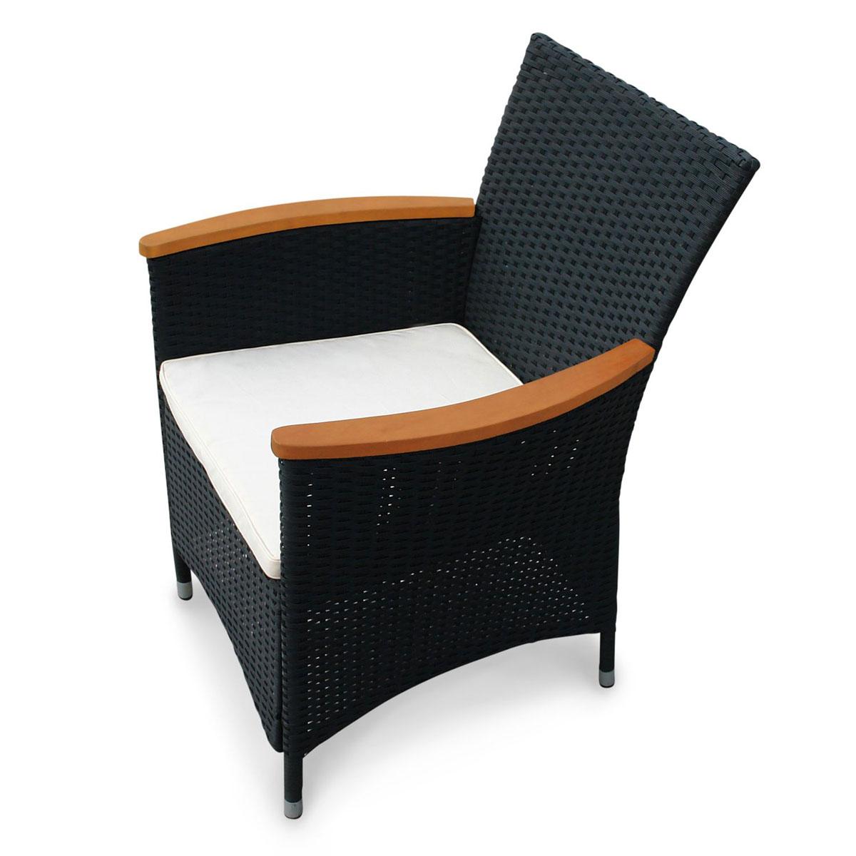 """Gartenstühle - Gartenstuhl """"Valencia"""", 2 Stück, Polyrattan und Holz, schwarz schwarz  - Onlineshop Hellweg"""