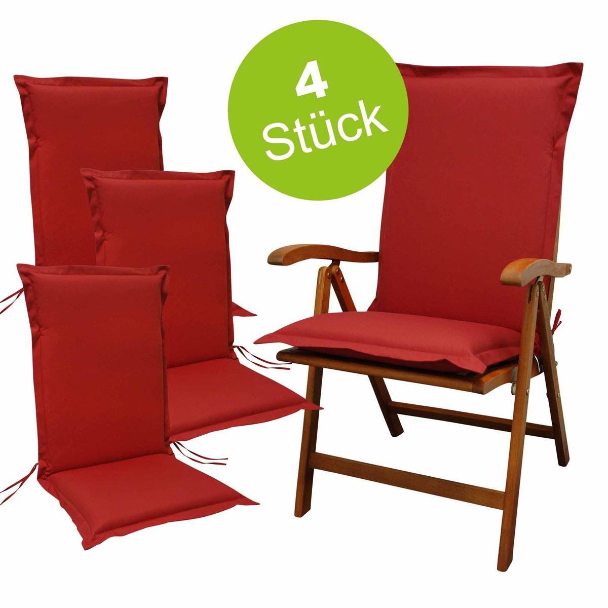 """Truhen und Auflagen - Sitzauflage Hochlehner """"Premium"""", 4 Stück, Rot, extra dick 4x Polsterauflage  - Onlineshop Hellweg"""