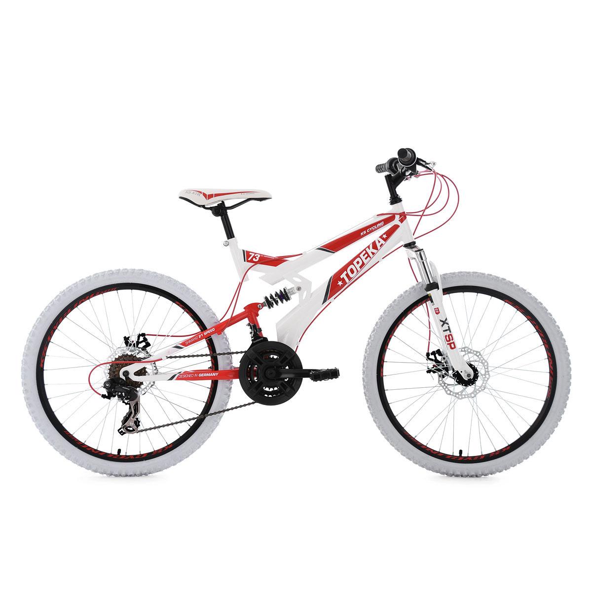 "Jugend-Mountainbike ""Topeka"", Fully, weiß-rot weiß-rot"