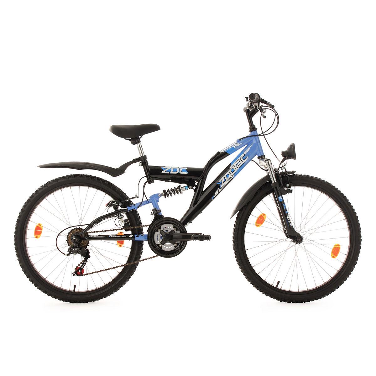 """KS Cycling Jugend-Mountainbike """"Zodiac"""", Fully, 24 Zoll, schwarz schwarz-blau   24 Zoll"""