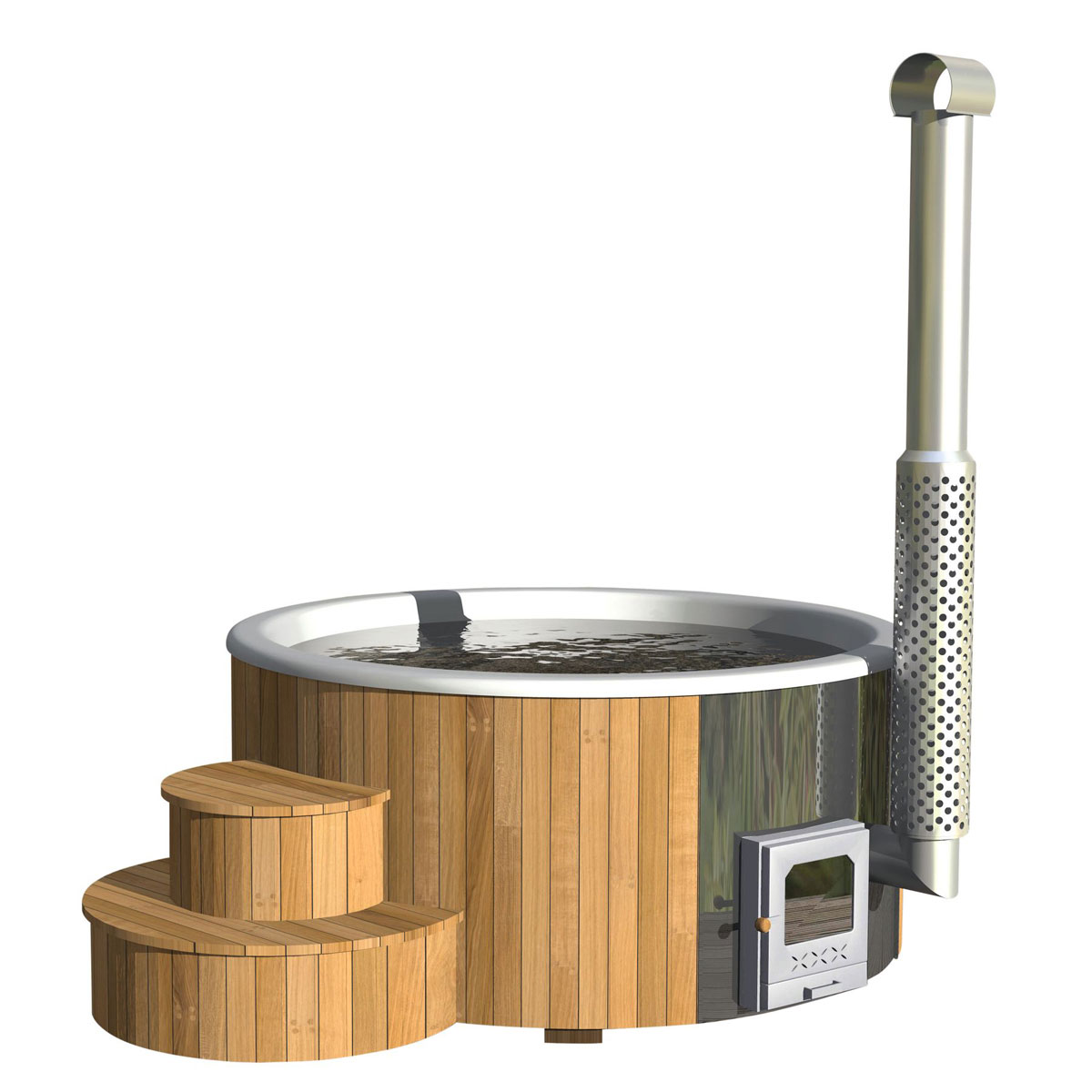 Pools und Schwimmbecken - Badebottich, Ø200, Weiß, mit Thermodeckel Ofen  - Onlineshop Hellweg