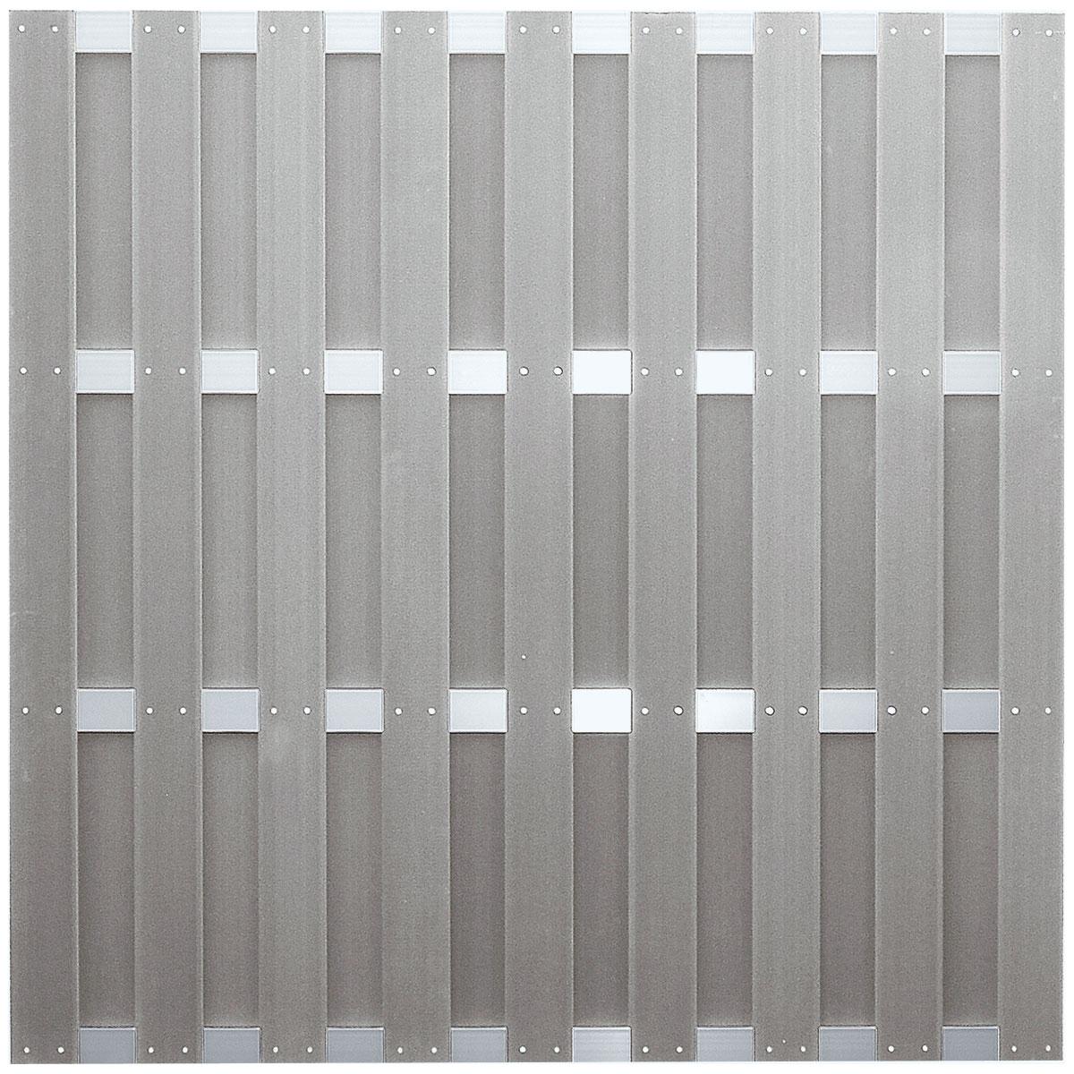 "Ideenwelt T&J Zaunserie ""JINAN"", grau, 180 x 180 cm, WPC-Bretterzaun"
