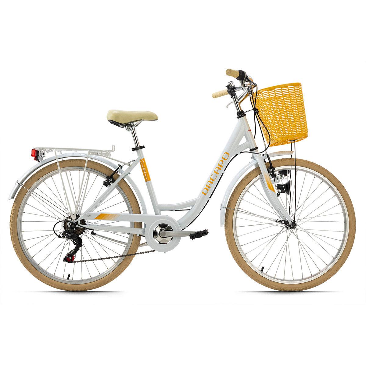 "Cityrad ""Cantaloupe"", mit Korb, weiß-gelb weiß"