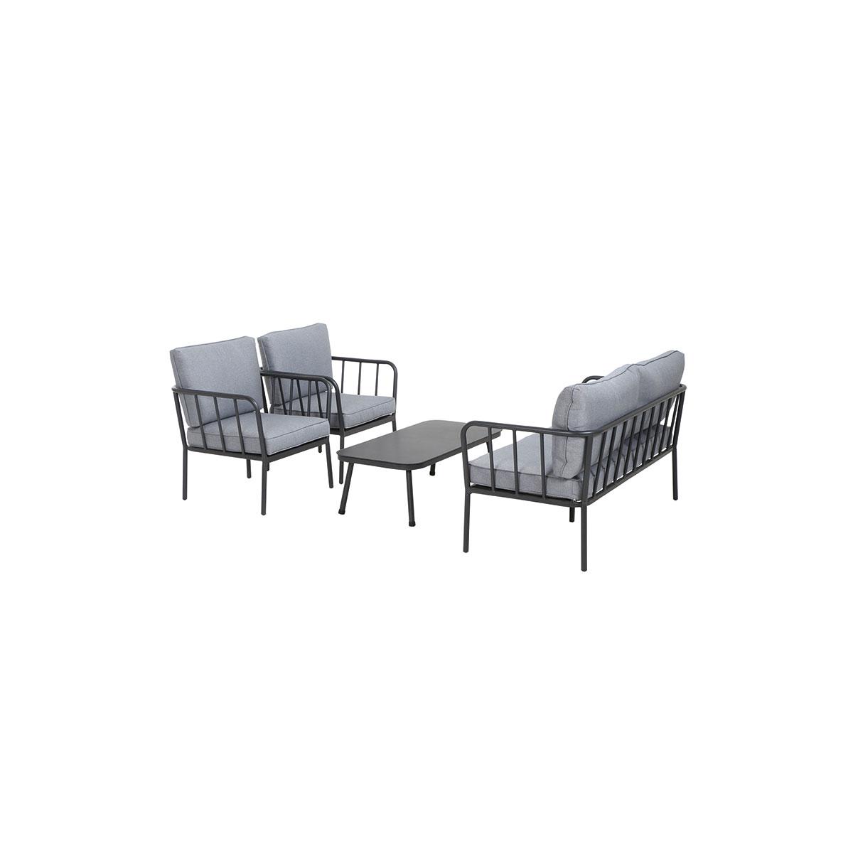 """Lounge-Set """"Casita"""", 4-teilig, Aluminium,matt anthrazit/schwarz/hellgrau"""