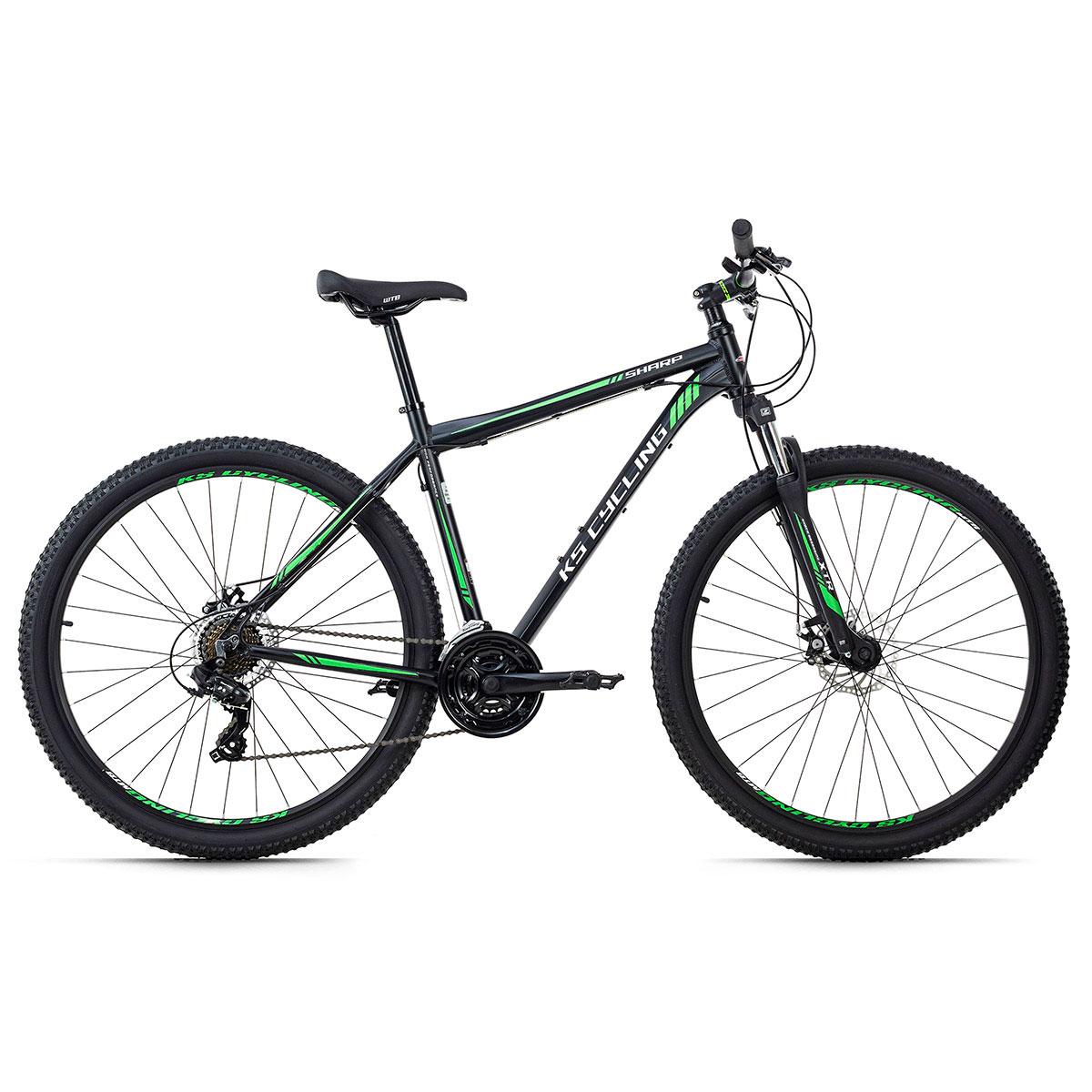 "Mountainbike ""Sharp"", Hardtail, 29 Zoll, 21 Gänge, schwarz-grün 21 | schwarz-grün | 29 Zoll"